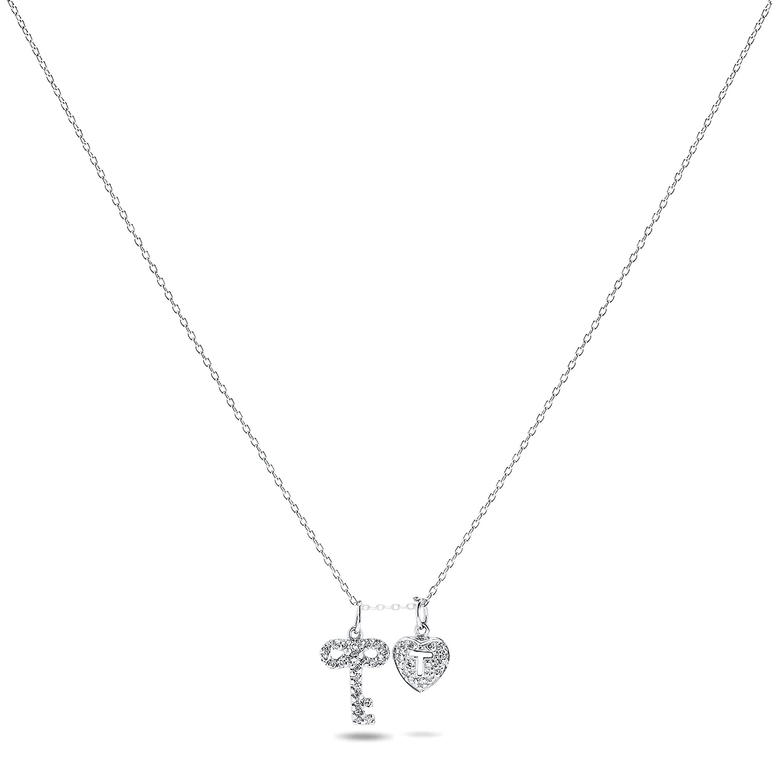 1//5 Carat Diamond Heart And Ket Pendant Necklace In .925 Sterling Silver