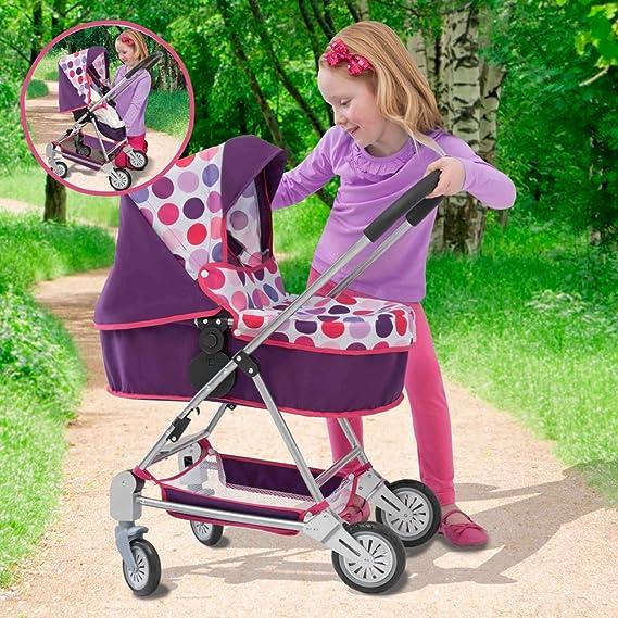 Amazon.es: Mamas and Papas 1422961 - Carrito de bebé de juguete, diseño de lunares, color morado: Juguetes y juegos