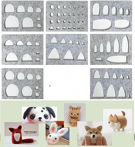 welliestr 8pcs/set Herramienta de fibra de lana fieltro plantilla molde para Mini gato,