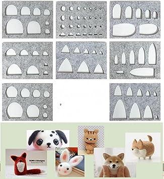welliestr 8pcs/set Herramienta de fibra de lana fieltro plantilla molde para Mini gato, perro, conejo, Pig, ojos, nariz, orejas: Amazon.es: Juguetes y ...