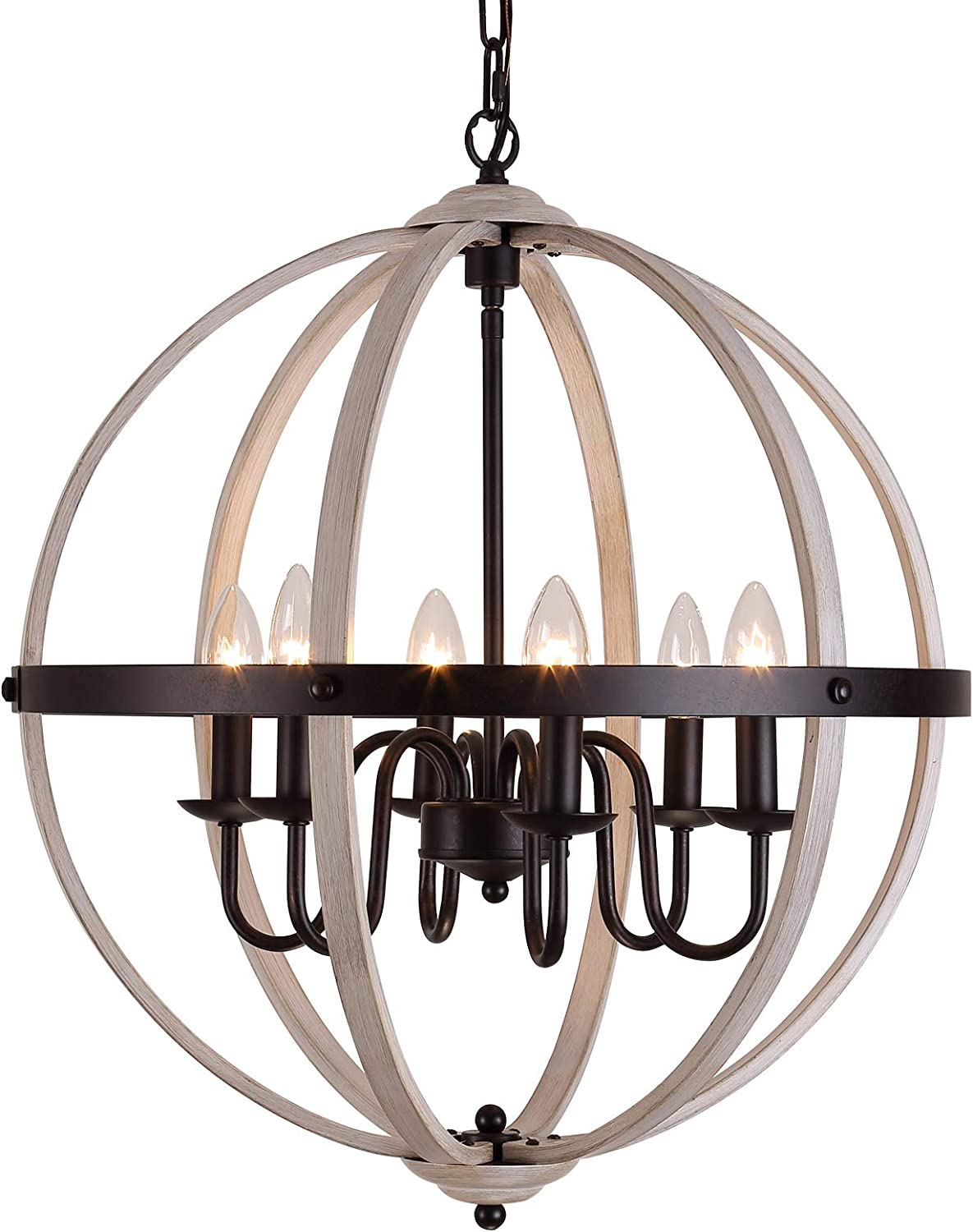 """Q&S Farmhouse Chandelier Rustic Chandeliers Global Vintage Pendant Ceiling Light Fixtures for Kitchen Dining Rooms Entryways,ORB and Oak Finish,6 Lights E12 W20.5""""H 97"""""""
