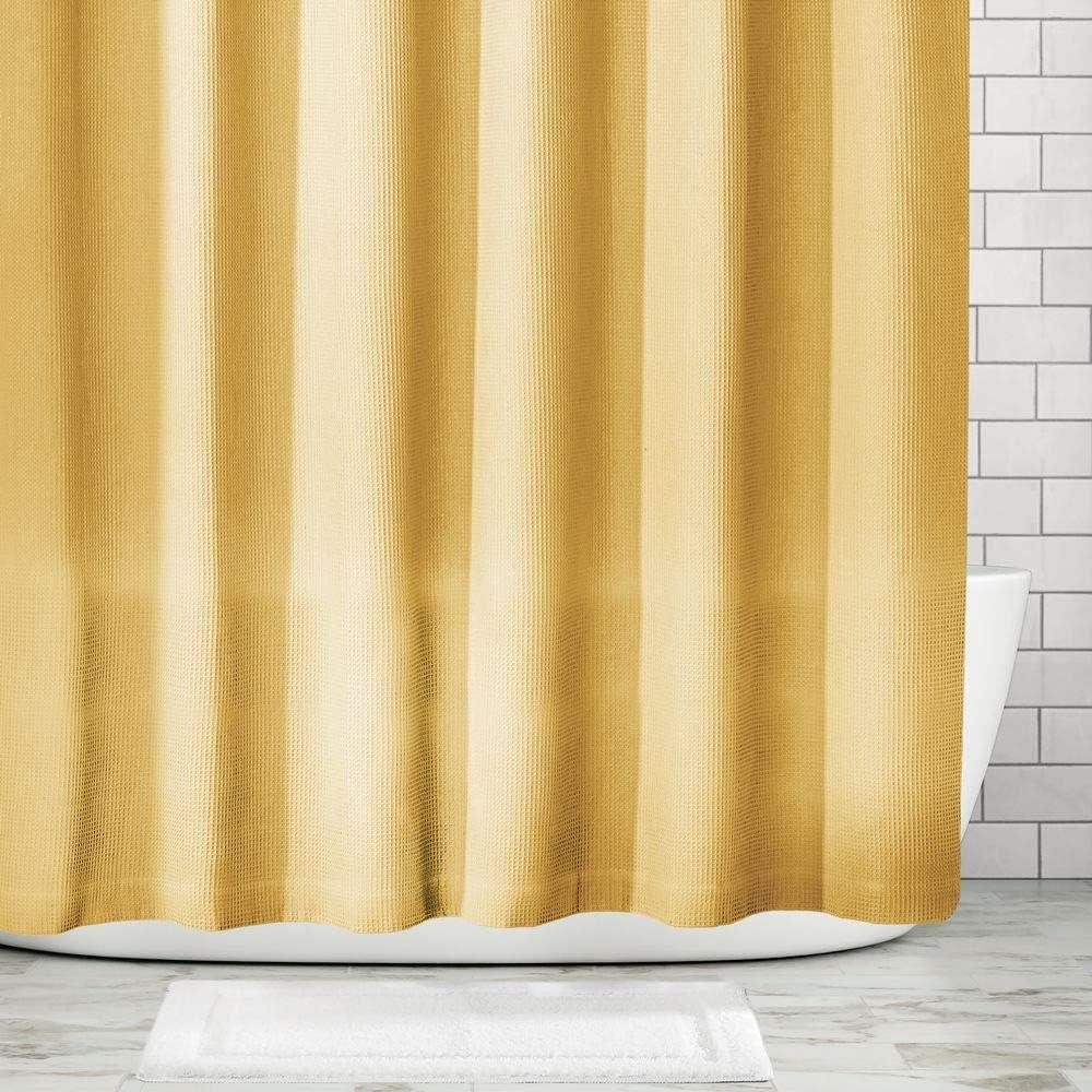 mDesign Cortina de ducha de lujo Cortina de ba/ño suave con dise/ño de barquillo Accesorio para ducha de cuidado f/ácil azul