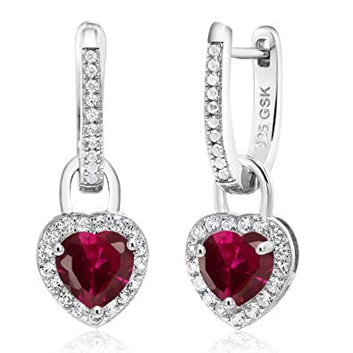2.42 Ct Red Created Ruby White Created Sapphire 925 Sterling Silver Earrings