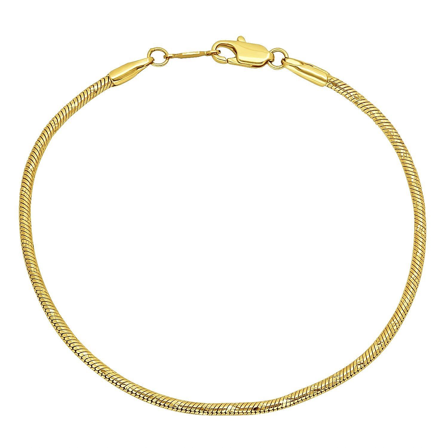 ba39e63523e02 The Bling Factory Small 14k Yellow Gold Plated 2mm Diamond-Cut Rounded  Snake Link Chain, 7