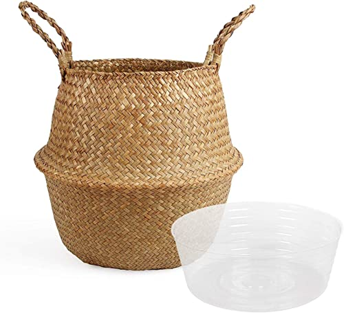 BlueMake Woven Seagrass Belly Basket with Handles for Storage Plant Pot Basket,Toy, Laundry, Picnic and Grocery Basket with Plastic Tray Large, Original