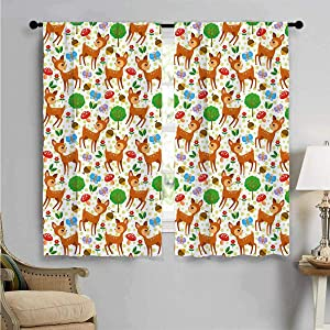 SUZM Blackout Window Curtain, Baby Deer Forest, Customized Curtains W72 x L63 Inch