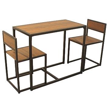 YELLOO Set Mesa Bar y 2 sillas Mod. SIENA marrón Cocina taburetes ...