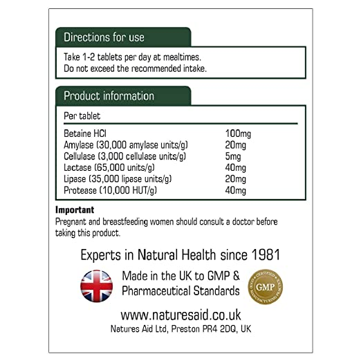 Natures Aid Digestive Enzyme Complex (with Betaine HCI) , 60 ...