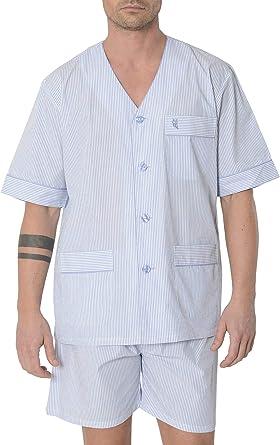 El Búho Nocturno - Pijama Hombre Corto Tapeta Punto Estampado o Rayas Pijama Verano 100% algodón