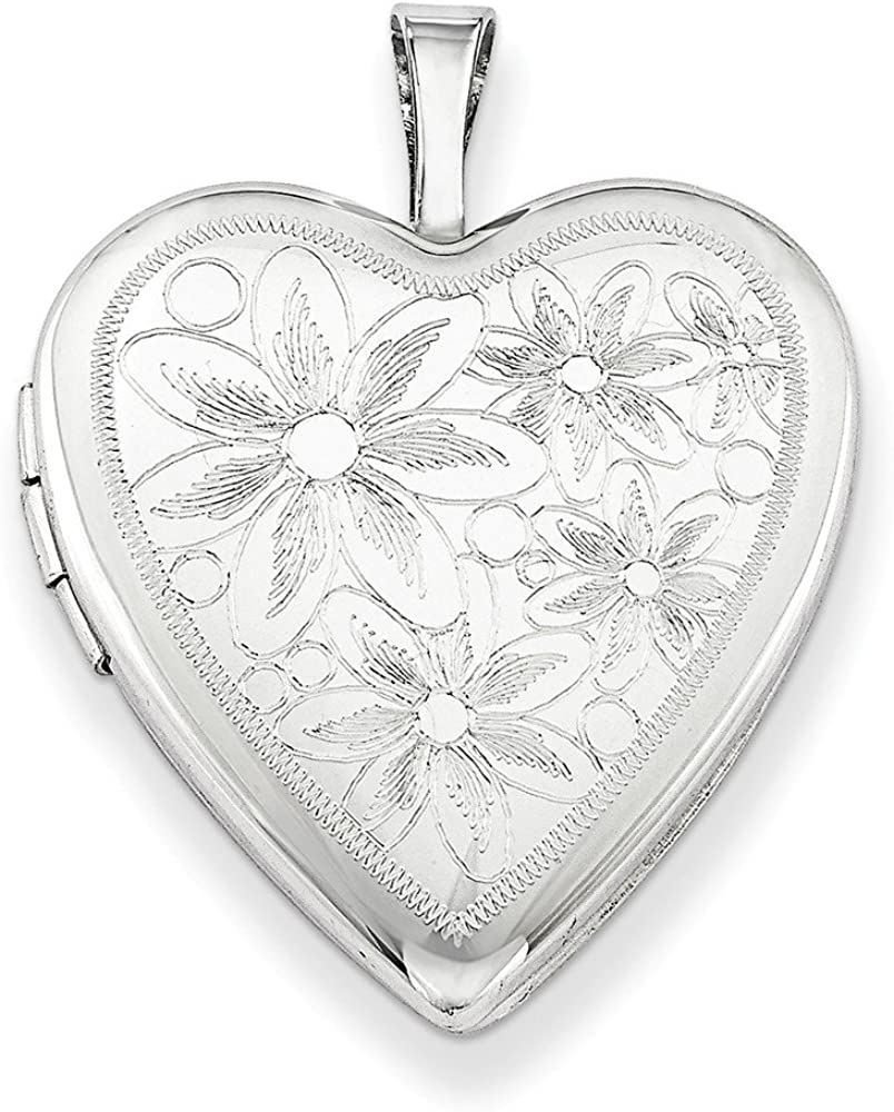 .925 Sterling Silver 20MM Textured Daisies Heart Locket Charm Pendant