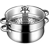 COSTWAY 2-Tier Stainless Steel Steamer, 11-Inch Multi-Layer Boiler Pot with Handles on Both Sides, Cookware Pot with…