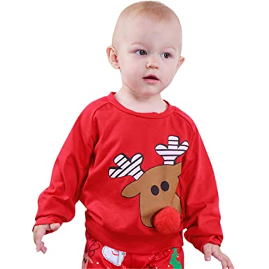 6a68124e37 Happy Event Christmas Xmas Weihnachten Kleinkind Baby Brief Print Cartoon  Deer 3D Nase Tops Pullover Outfits
