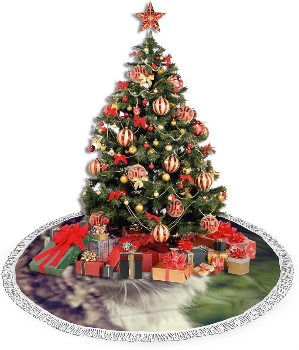 TUOFUBAGS Fleurs Sauvages Jupe de Sapin de No/ël D/écorations darbre de No/ël Tapis Vacances Couvre Pied Sapin Noel Christmas Tree Skirt 36 Inch//90CM