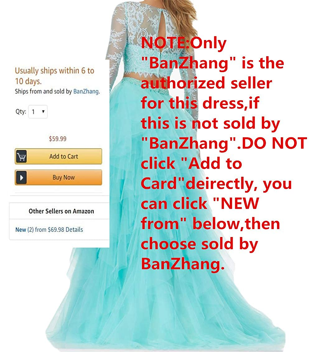 f79da7eec39 Amazon.com  BanZhang Women s Prom Party Dress Long Sleeve Lace Homecoming  Dresses 2 Piece A Line B280  Clothing