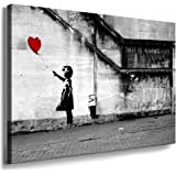 Fotoleinwand24 – Banksy Graffiti Art « There Is Always Hope » / AA0134 / Impression sur toile, Bois, gris, 120 x 80 cm