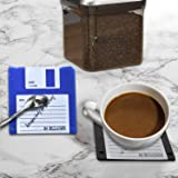 Floppy silicone Disk Coasters Set of 6,Durable heat