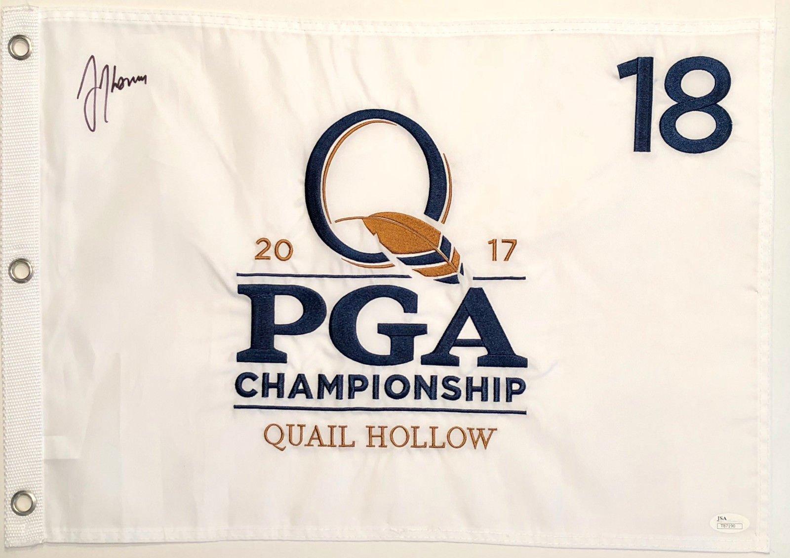Justin Thomas Signed Autographed 2017 PGA Championship Quail Hollow Flag JSA