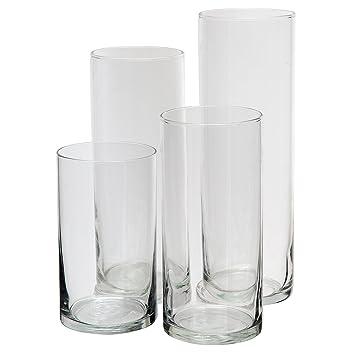 Royal Imports Jarrón de cilindro de vidrio con eje central decorativo para boda o hogar Conjunto