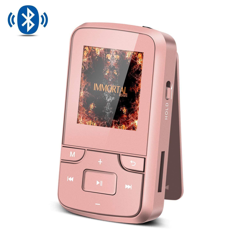 AGPTEK Mp3 Bluetooth 4.0 avec Clip 8Go Lecteur Sport Ecran en Couleur TFT 1, 5 Pouces Petit Baladeur avec Radio- G6 Noir