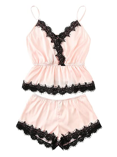bacfdf7eef8 DIDK Women's Lace Trim Satin Cami and Shorts Pajama Set
