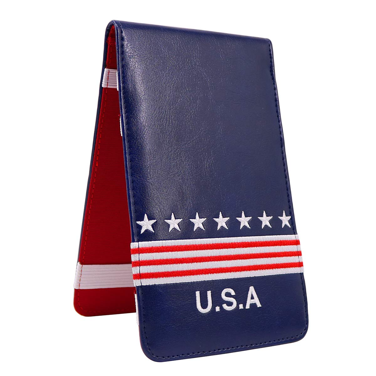 Craftsman Golf USA Star Red Stripes Blue Pu Leather Scorecard & Yardage Holder Cover