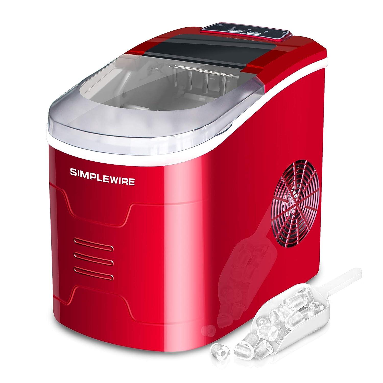 Eiswü rfelbereiter SIMPLEWIRE Eiswü rfelmaschine Ice Cube Maker Eismaschine 8 Minuten 15kg Kapazitä t 2.4L Tank mit herausnehmbarem Korb (Rot)