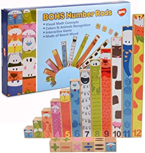 BOHS Number Rods - Montessori Math Concepts Sticks,Addition,Subtraction Calculation Learning ,Preschool Math Toys