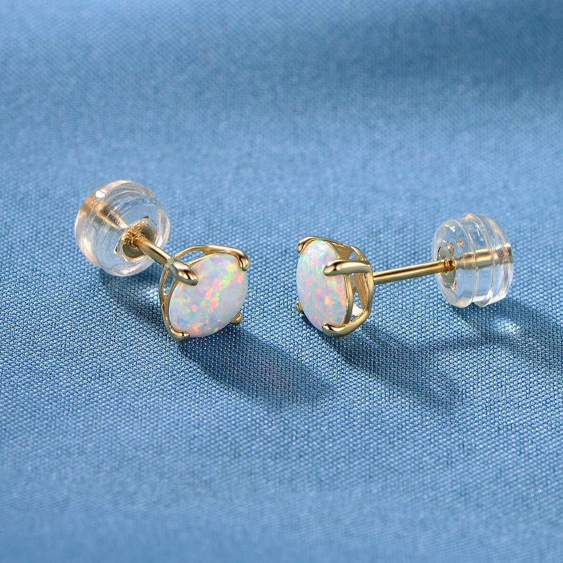 GEMSME 10K Solid White Gold 6.00mm Round Opal Stud Earrings