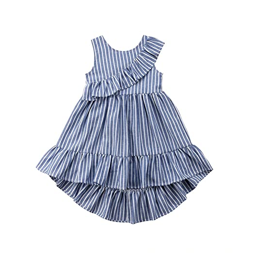a0e30e54fd691 beBetterstore Toddler Baby Girl Striped Dress Outfits Ruffle Tutu One Piece  Party Dresses Sundresses Skirts Clothes