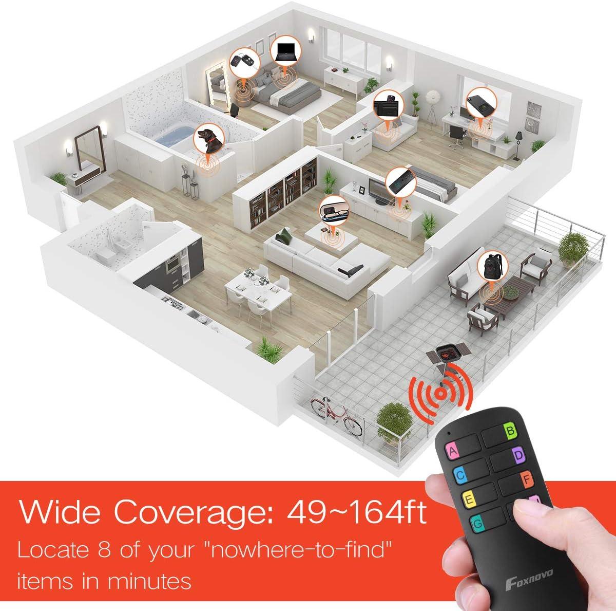 Key Finder Locator, 164FT Remote 100 dB Beeping Sound Wireless Long Lasting Batteries Wallet Key Phone Glasses Tracker