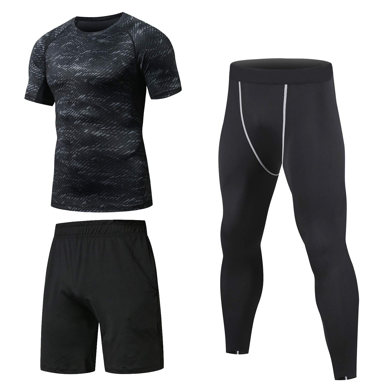 Niksa Homme 3 Pièces Vêtements de Sport avec Shirt Compression+Collant  Running +Short Séchage d7499ef3138