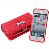 HONGYIBB iPhone6s Plus / iPhone6 Plus ケース 手帳型 100%手作り 多機能スマホ手帳形 カード5枚付き ジッパーバッグ(小銭やイヤホン、コインなど収納可能) 分離式 マグネット式吸着 衝撃防止 大容量 アイフォン6プラス手帳型カバー アイフォン6Sプラス / アイフォン6 プラス ケース カバー 赤色