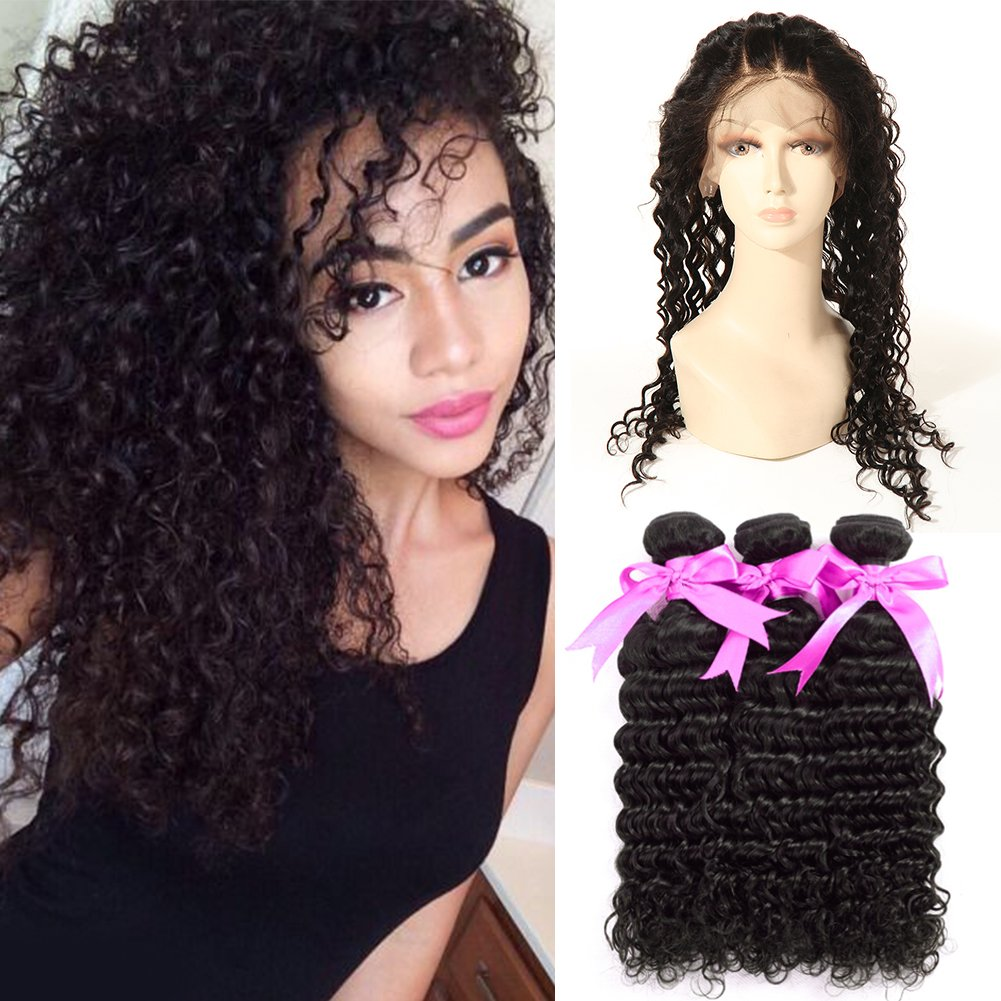 ANNMODE hair 360 Lace Frontal with Bundles Remy Brazilian Virgin Hair Bundle Deals with Lace Frontal Closure Deep Curly Weave Wave Human Hair 3 Bundles with Frontal Free Part Natural Color 14 16 18+14
