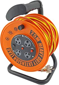 UR24025R ULTRACHARGE 25M Handyman Ext Reel with 4 Way Surge Power Board UR240/25R 25 Metre Cable, Heavy Duty Reel with Soft Grip