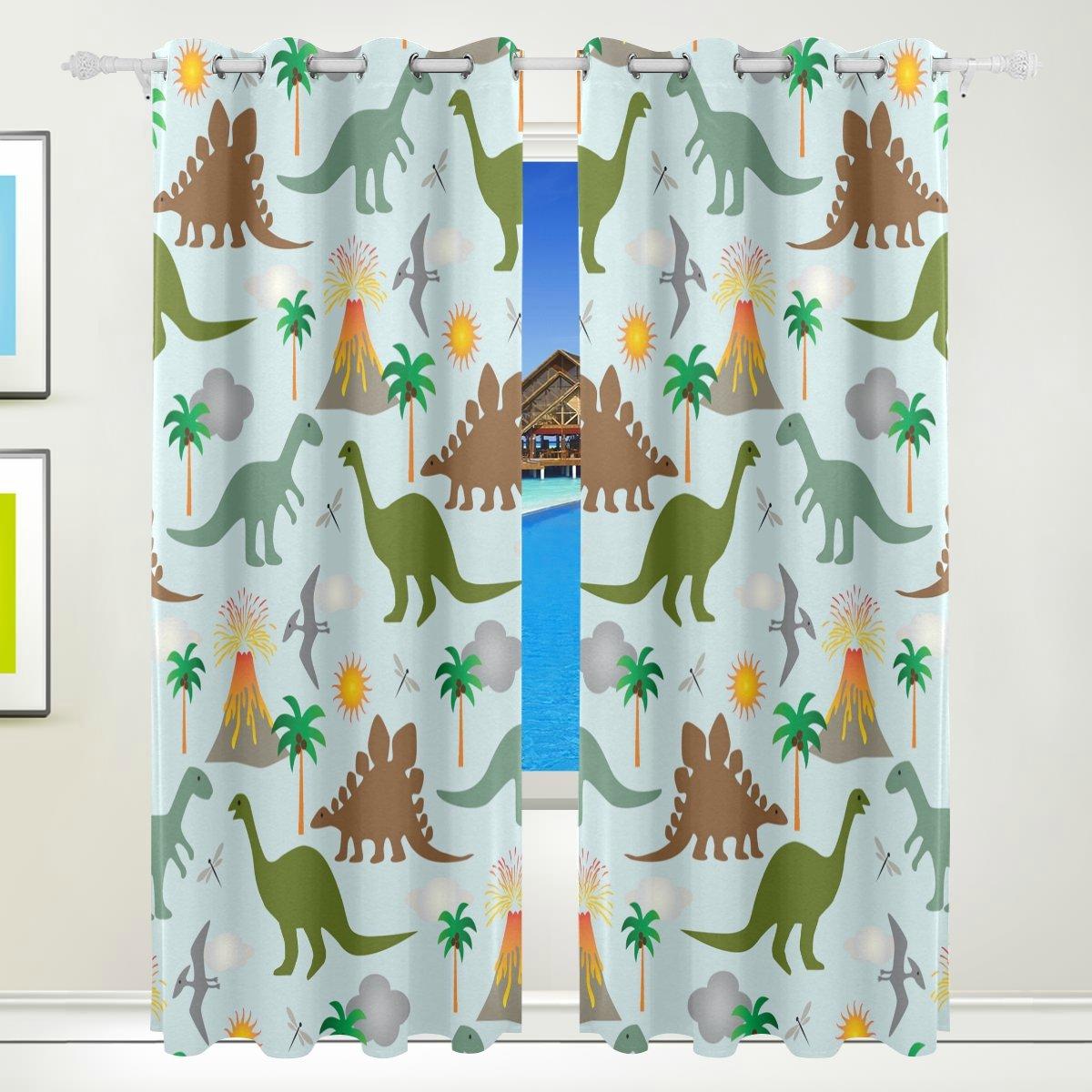 TIZORAX Dinosaurier Dino Vorhänge Verdunkeln isoliert schwarzout Fenster Panel Drapes für Wohnzimmer Schlafzimmer 139,7 x 213,4 cm, Set von 2 Panels