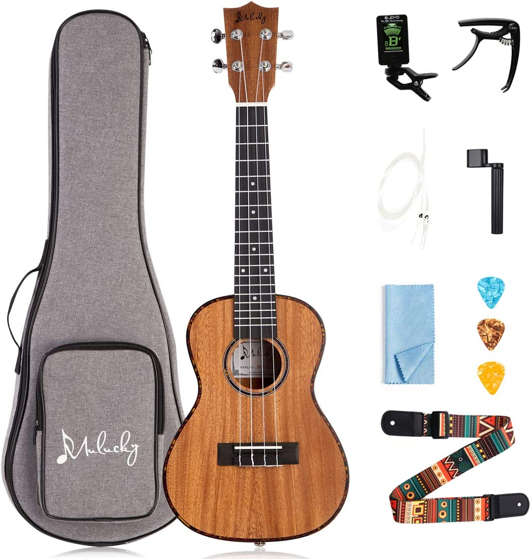 Mulucky Ukulele Concert 23 Inch 4 Aquila Strings Premium Mahogany With Beginning Kit – MUK-CT2