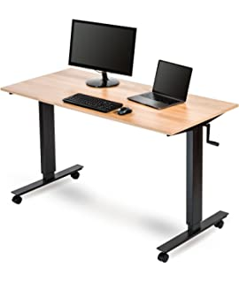 Crank Adjustable Height Standing Desk (56 Inches Wide, Charcoal  Frame/Natural Walnut Top Amazing Ideas