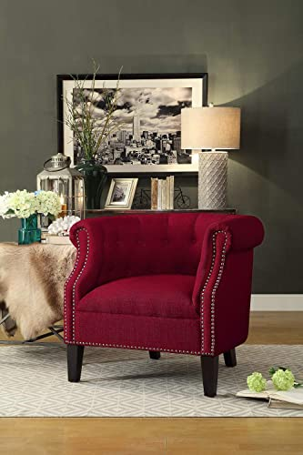 Homelegance Lenci Fabric Barrel Accent Chair, Red