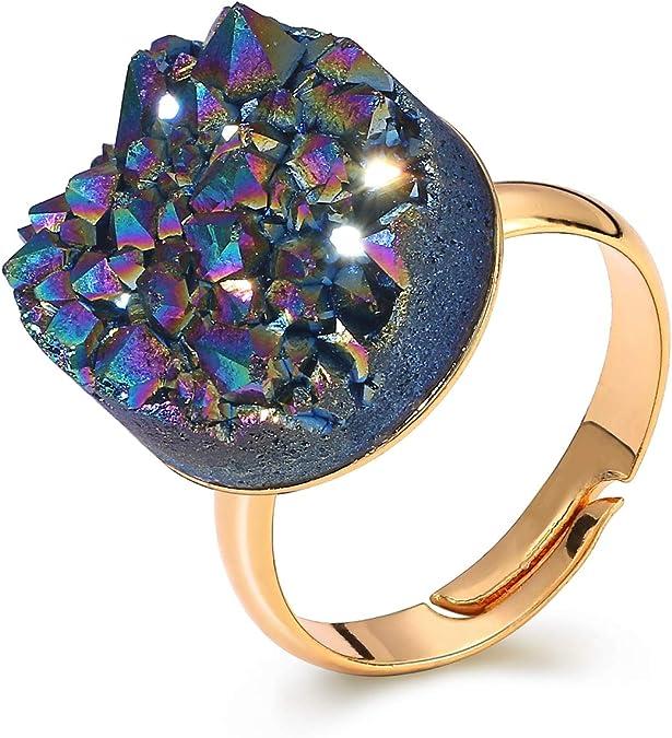 29.80 Cts. 15x7 14x7 mm Lot of 3 Pcs Natural Green Blue Titanium Druzy Quartz Cabochon Gemstone Set Round Shape Ring size