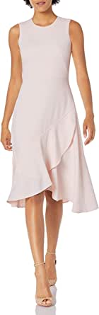 Calvin Klein Women's Petite Sleeveless Seamed Midi with Flounce Hem Dress
