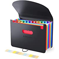 Accordian File Organizer, Expanding File Folder/Portable Desktop A4 Letter Size Filling Box, Plastic Rainbow Expandable…