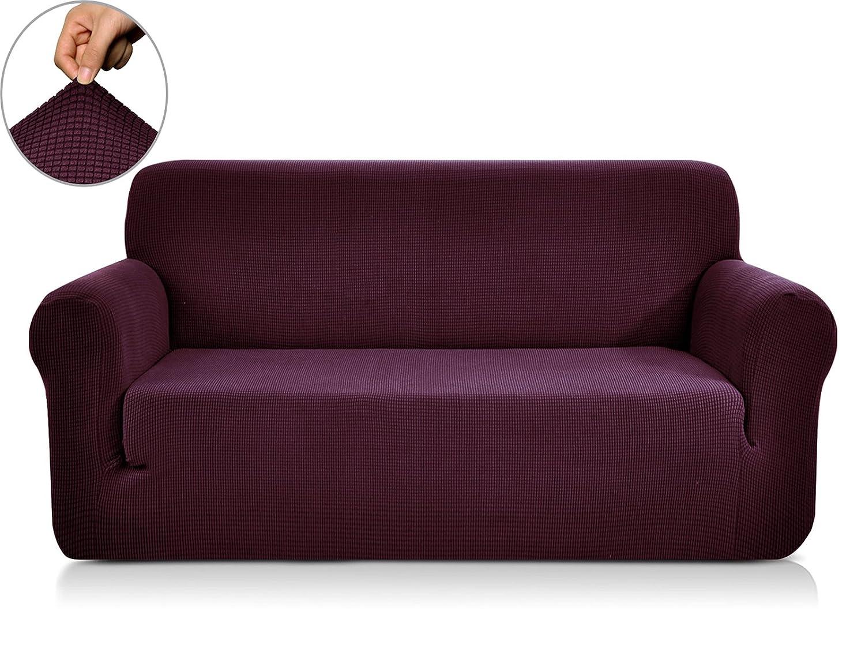 (Loveseat, Dark Magenta) CHUN YI Jacquard Sofa Covers 1-Piece Polyester Spandex Fabric Slipcover (Loveseat, Dark Magenta) B071GK5ZHT Loveseat|ダークマゼンタ ダークマゼンタ Loveseat