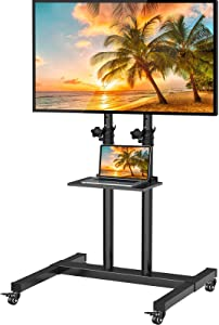 Mobile TV Stand with Wheels for 32-60 Inch LED LCD OLED 4K Flat/Curved Panel Screen TVs Tilting TV Cart Height Adjustable Max VESA 600×400mm Rolling Floor Trolley Stand w/Shelf Supports TV up to 99lbs