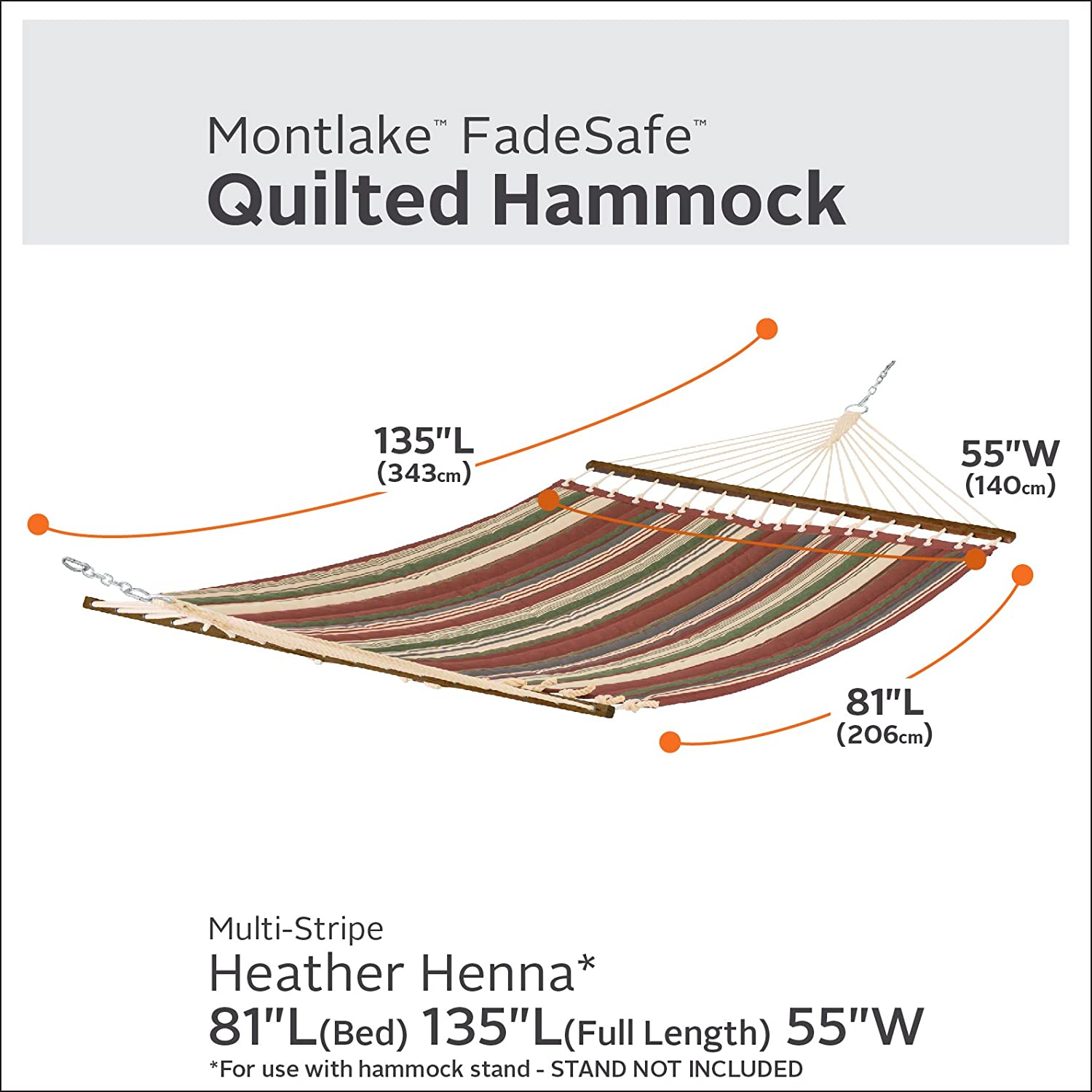 Classic Accessories Montlake FadeSafe Quilted Double Hammock, Heather Henna Multi-Stripe