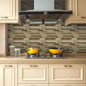 VANCORE 3D Mosaic Sticker Home Decor Backsplash Wallpaper Bathroom Kitchen DIY Plain Design 20x500cm/7.87x197 Roll