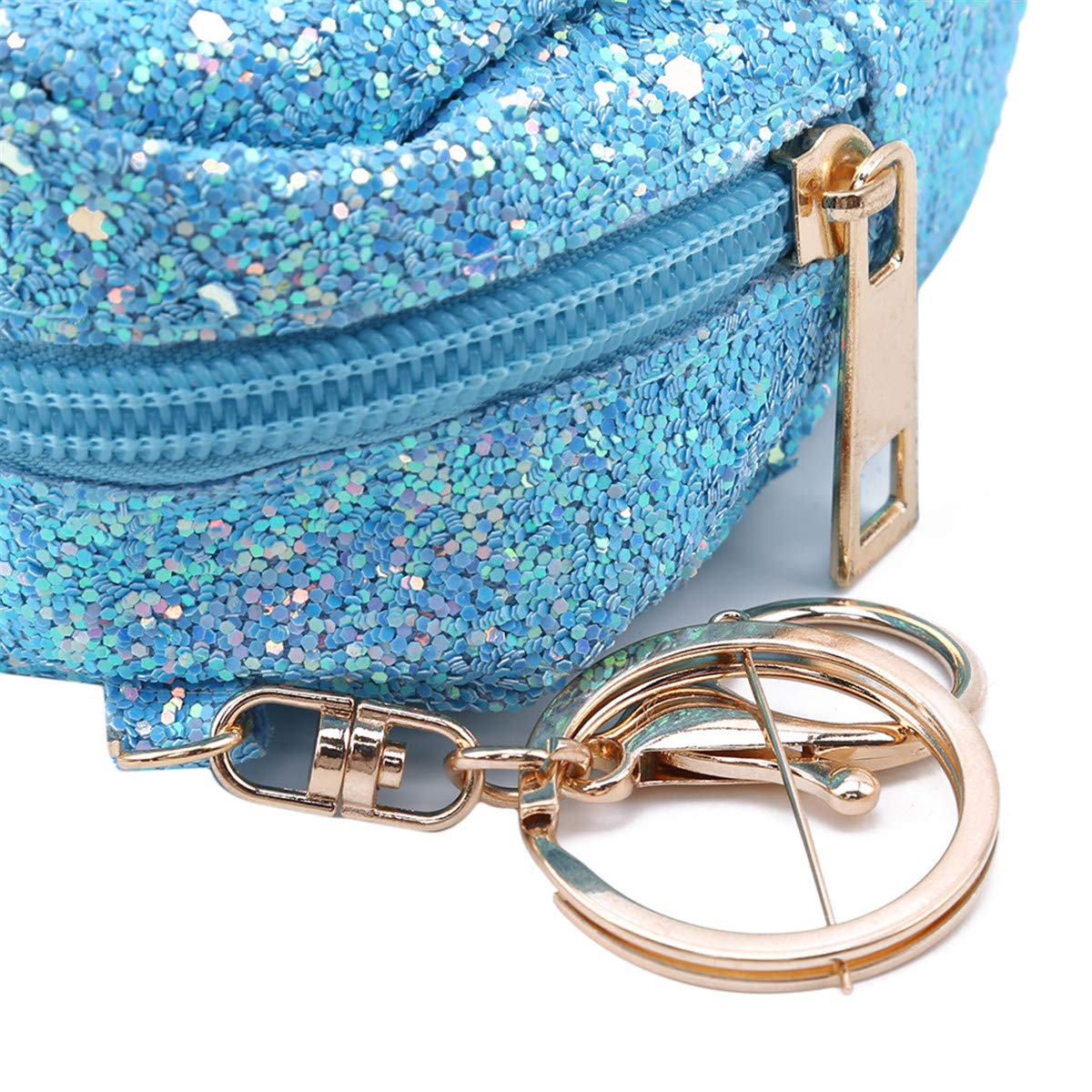 Winwinfly Owl Pattern Keychain Shining Sequins Coin Purse Mini Satchel Trendy Keyring Bag Girl Women,Black