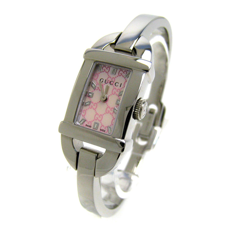 [グッチ]GUCCI 腕時計 GQ6800 6800L ホースビット バングルウオッチ ピンク シェル文字盤 レディース 中古 B07DW9QDPP
