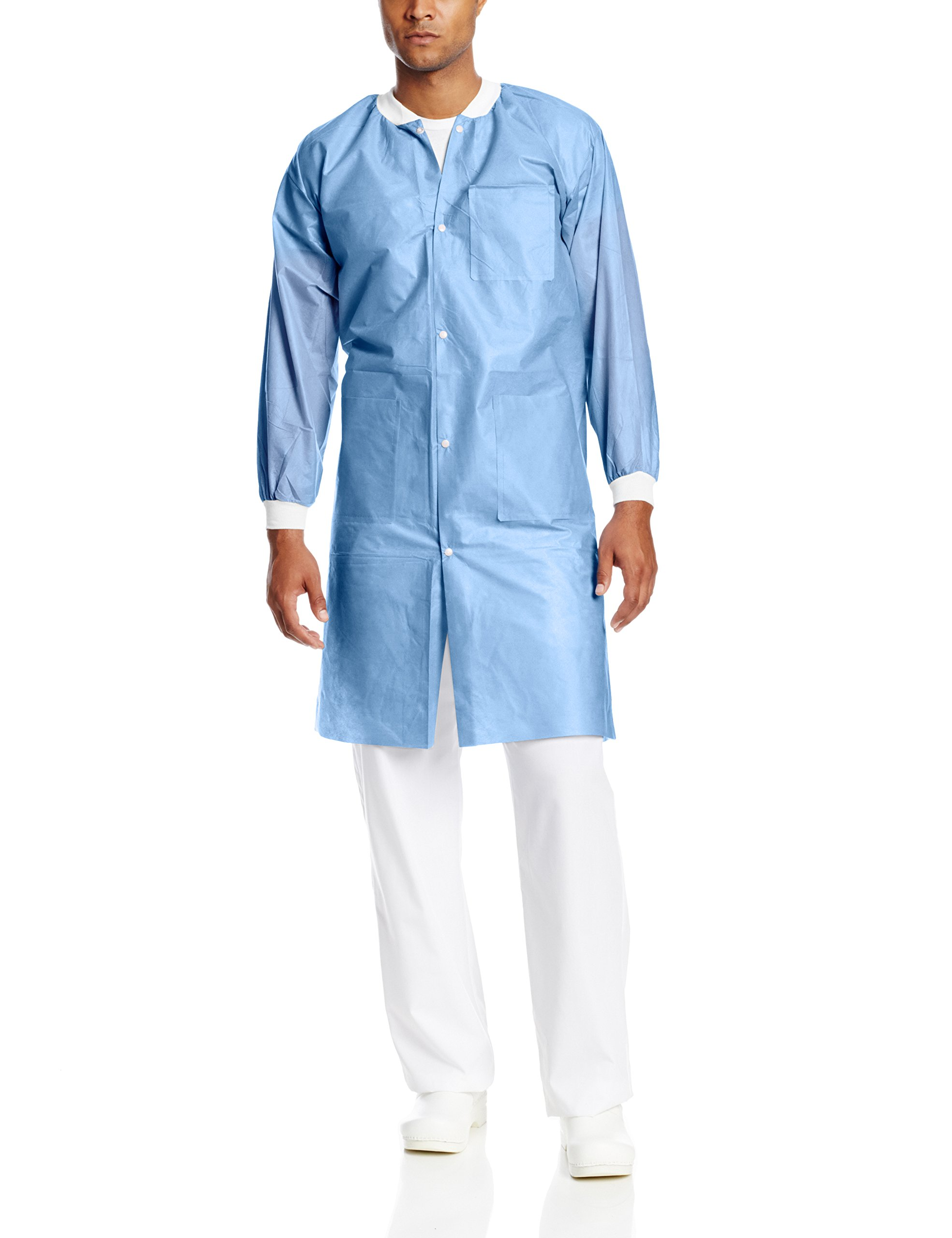 ValuMax 3560CBM Easy Breathe Cool and Strong, No-Wrinkle, Professional Disposable SMS Knee Length Lab Coat, Ceil Blue, M, Pack of 10