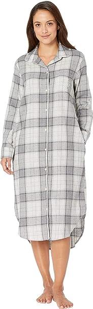 242da8ee715 Lauren Ralph Lauren Women s Long Sleeve Ballet Length Sleepshirt Grey Plaid  Small