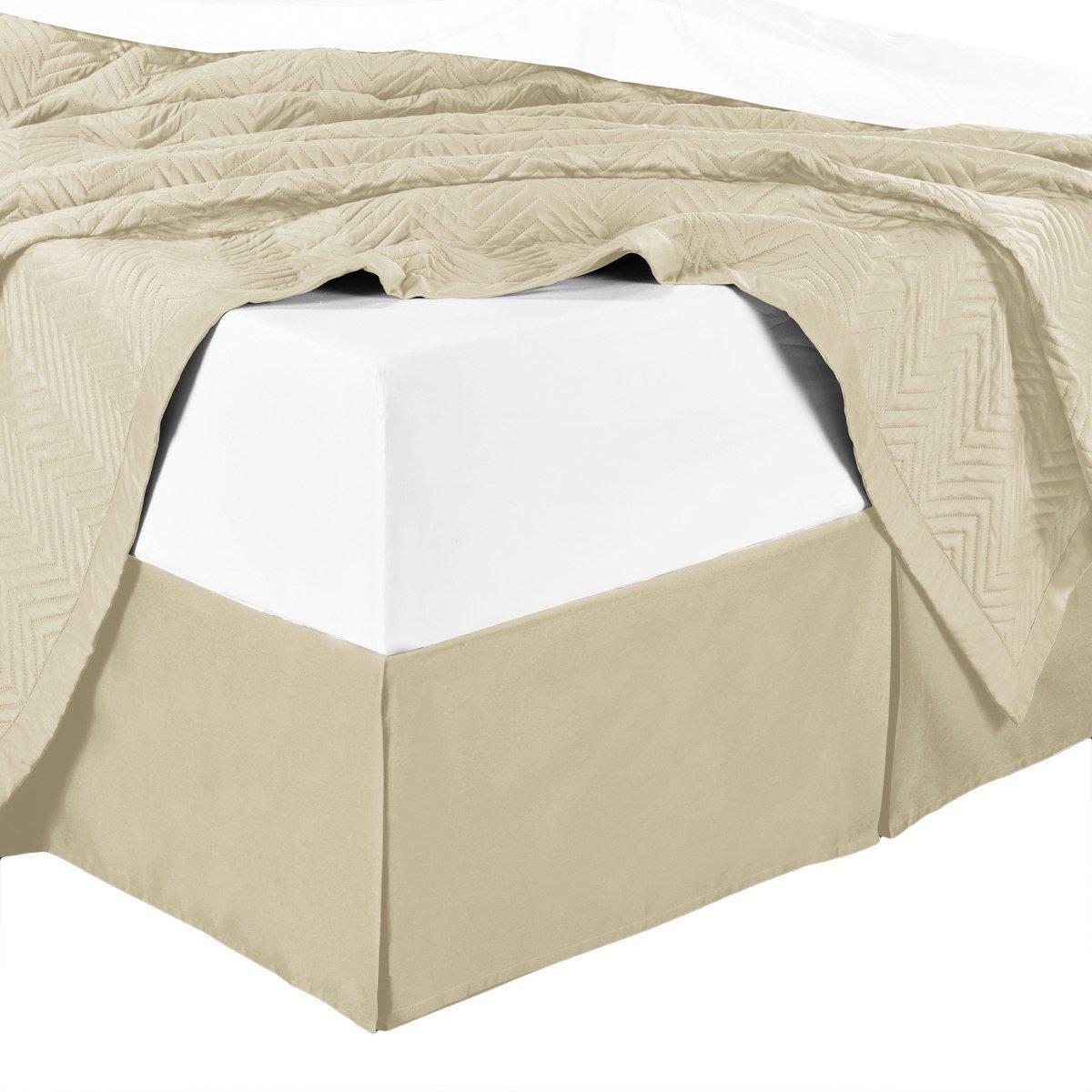 wrinkle-free Kingサイズプリーツ仕立て14インチdrop- 95 gsm、100 %マイクロファイバーベッドスカート。 フル ベージュ B075WC7QLG ベージュ フル